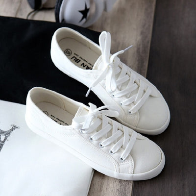 Classic Women Flats Solid White Sneakers Casual Shoes For Women