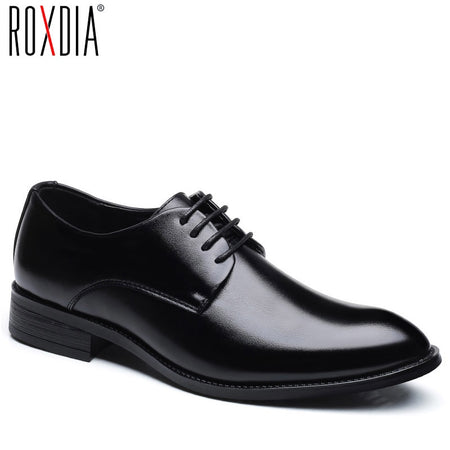 ROXDIA men wedding Black shoes microfiber leather formal business pointed toe for man dress shoes men's oxford flats RXM081 size 39-48