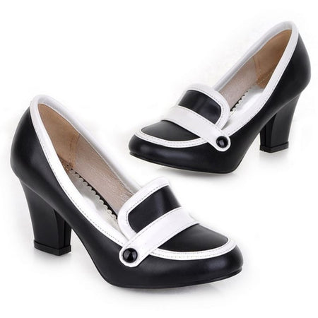 Women's Square Heels Pumps Ladies High Heel Shoes