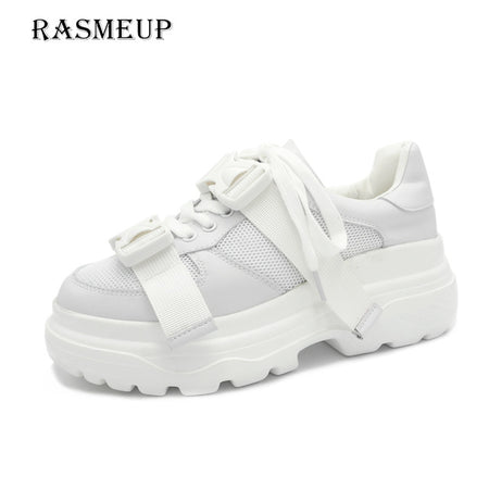 RASMEUP Genuine Leather Mesh Women's  Shoes 2019