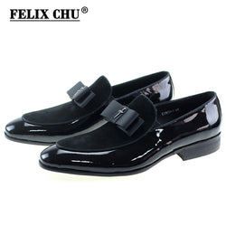 Handmade Genuine Patent Leather And Nubuck Leather Patchwork With Bow Tie Men Wedding Black Dress Black Brown Shoes Men's Banquet Loafers