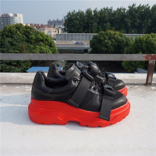 076af1205ab2 RASMEUP Genuine Leather Mesh Women s Platform Chunky Sneakers 2018 Fashion  Buckle Women Flat Thick Sole Shoes