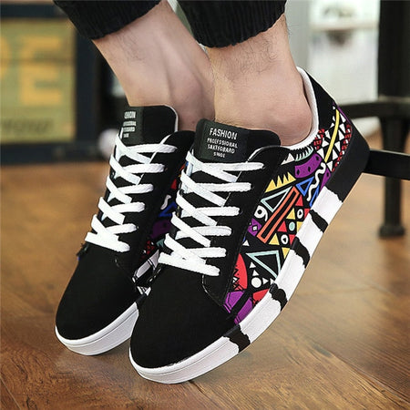 Men Casual Canvas Shoes Fashion Print Sneakers Summer Trainers