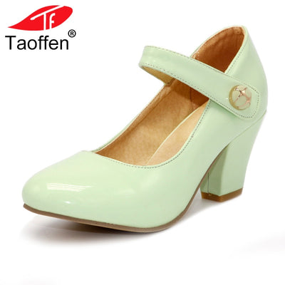 Leather Thick High Heeled Shoes For Women