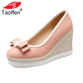 TAOFFEN Classic Brand Women Wedges High Heels
