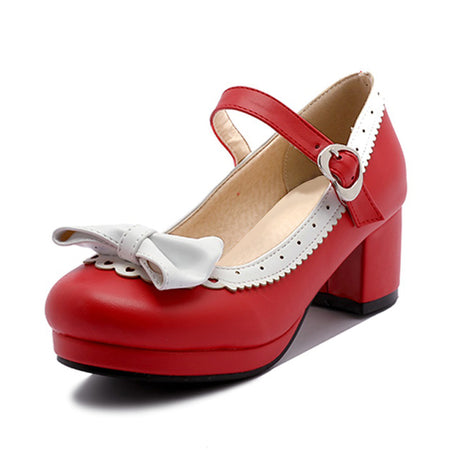 TAOFFEN Women Thick High Heel Shoes