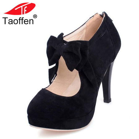 TAOFFEN Fashion Vintage Woman Small Bowtie Platform Pumps