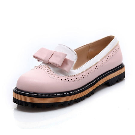 Cute Bowtie Lace Shallow Mouth Ladies Platform Shoes