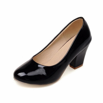 TAOFFEN Size 32-48 9 Colors women High Heels shoes Round Toe Patent Leather Thick High Shoes Women Pumps classic Dress Footwears