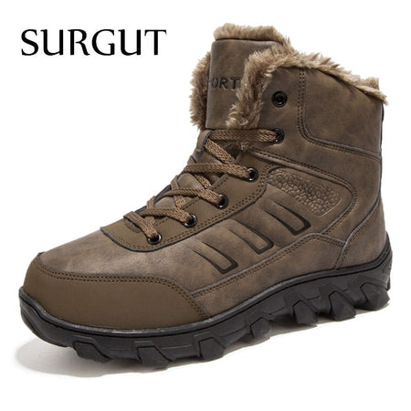 SURGUT Brand Winter Fur Warm Snow Boots For Men