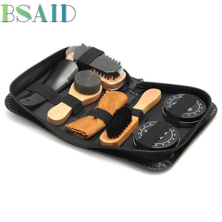 BSAID 7pcs Shoe Brush Kit Tool Leather Cleaner Professional Shoes Care Wood Handle Shoe Brush Sponge Wipers Shoe Polish Care Oil