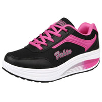 Fashion Women Mesh Heightening Pink Sneakers