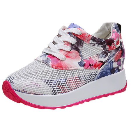 Women Casual Breathable Hollow Lace-Up Sneakers Printed Platform Shoes
