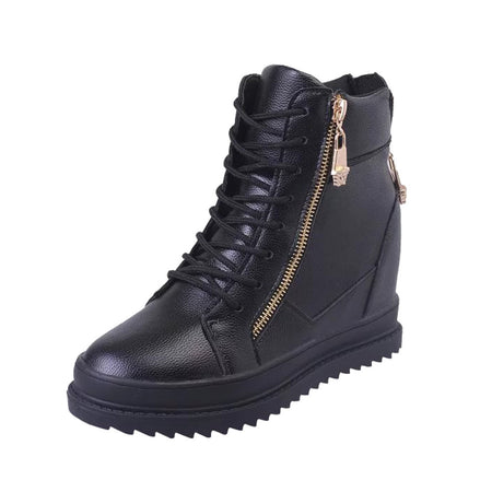 High-Top  Zipper Black Sneakers Lace Up Shoes