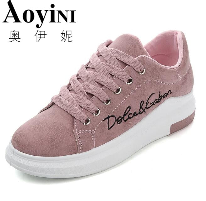 4bab24214 Genuine Leather Women Sneakers Fashion Pink Shoes for Women Lace up White  Shoes Creepers Platform Shoes