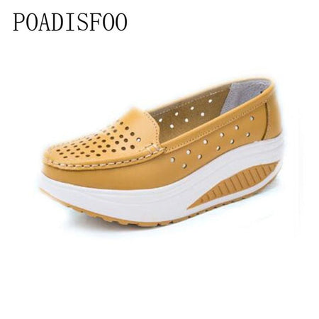 Genuine Leather Cutout Breathable Swing Shoes