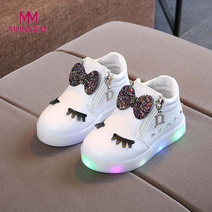 Sneakers Butterfly knot diamond Little white shoes