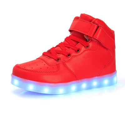 Size 25-40 USB Glowing Luminous Sneakers with Light Up Sole Kids Shoes Trainer Feminino LED Slippers Blue White Black Pink Red
