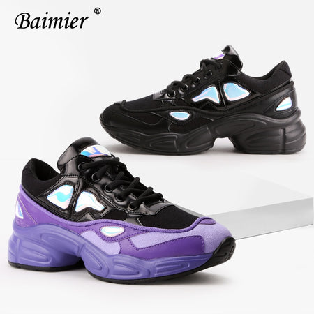 Baimier Purple Bling Women Sneakers Lace Up Chunky Platform Shoes Women Fashion Daddy Shoes Mesh Breathable Walking Sneakers Woman