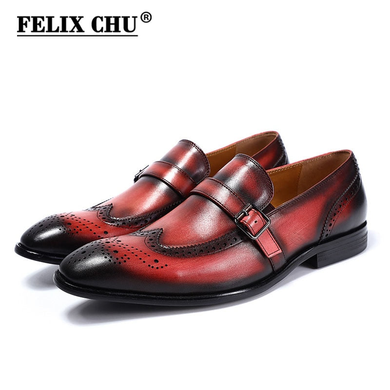 Mens Wedding Shoes.Felix Chu Brand New Genuine Calf Leather Slip On Men S Wedding Brown Dress Shoes Wingtip Brogue Pattern Party Banquet Men Loafer Shoes