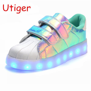 Children's Shoes Girls Useful Fashion Kids Mesh Sport Shoes Colorful Led Lights Children Casual Shoes Girls Boy Sneakers