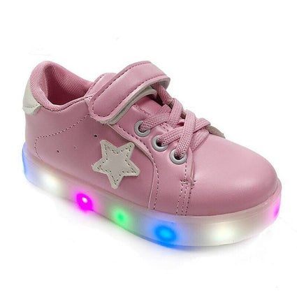 Kids glowing sneakers PU Flat bottom Breathable