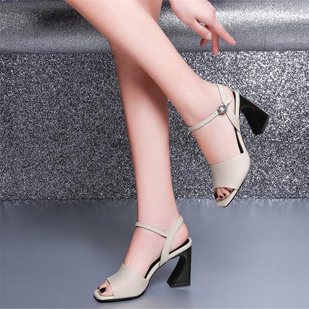 ZOUDKY 2019 summer new fish mouths buckles high heels