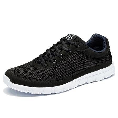 Brand Shoes Men Casual Breathable Lace-Up Walking Footwear Lightweight Comfortable Mesh Sneakers Men Sneakers Black
