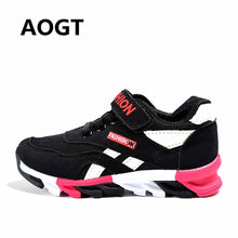 AOGT 2019 New Kids Sneakers For Boys Girls Sport Shoes Breathable Leather Mesh Rubber Sole Casual Shoes Brand Children Boy Shoes