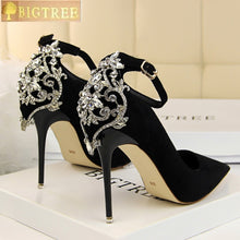 BIGTREE Elegant Crystal Pointed Toe Pumps