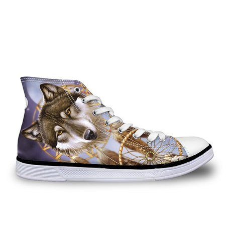INSTNTARTS Universe Star Women Casual Flats Purple Sneakers Cool Animal Purple Wolf Print Woman's High-top Vulcanize Canvas Sneakers