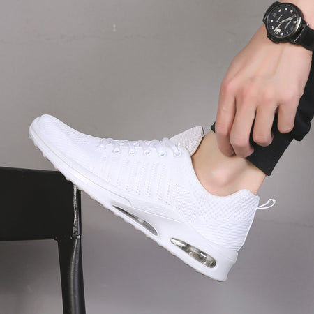 2019 Light Weight Men Casual White Sneakers Mesh Breathable Weaving Male Flats Sneakers White Solid Outdoor Walking Sneakers Men