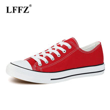 lzzf Classic Women Canvas Shoes Female Casual Sneakers for Woman Round Toe Lace Up Solid Red White Black Blue Plus Large Size 44