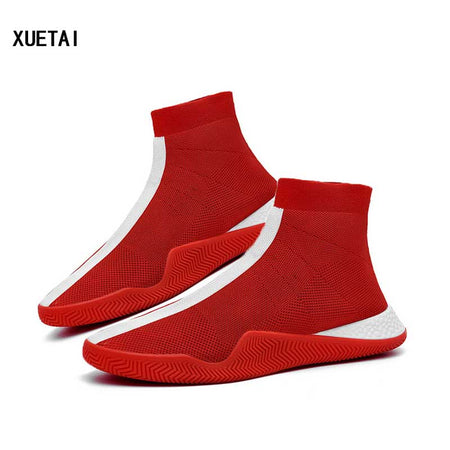 Mens Fashion Socks Red and Black Sneakers Man Sneakers Male Flying Running Shoes Casual Walking Shoe Footwear Autumn 2019 Red Sneakers