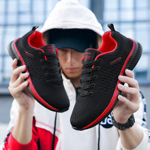 Breathable Casual Red Sneakers Men Comfortable Walking Shoes Lightweight Sneakers Black Footwear Men Lace Up Running Shoes Men Big Size