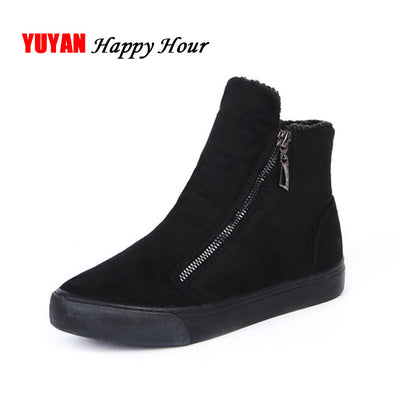 Winter Snow Boots Women Winter Shoes Zip Warm Plush for Cold Winter