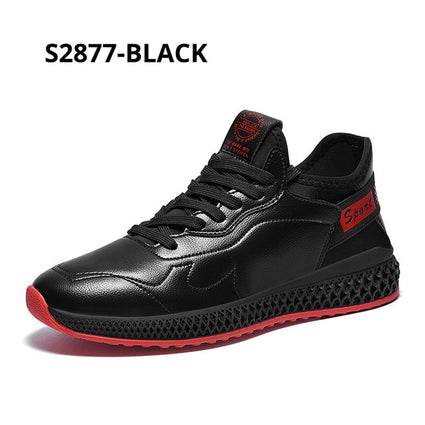 SUROM Black Leather Sneakers Men Breathable Zapatillas Hombre Casual Shoes Male Lace Up Outdoor Flats Sneakers Lightweight