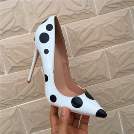 Veowalk Poka Dot Print Women Cute Stiletto High Heels Pumps