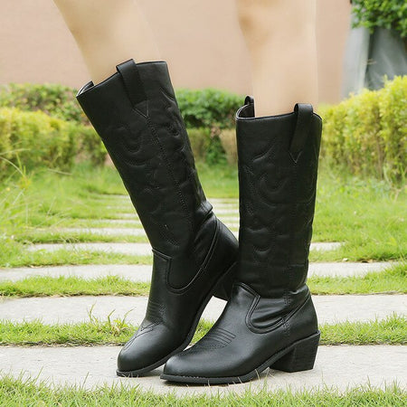 New Winter Leather Cowboy Boots For Women