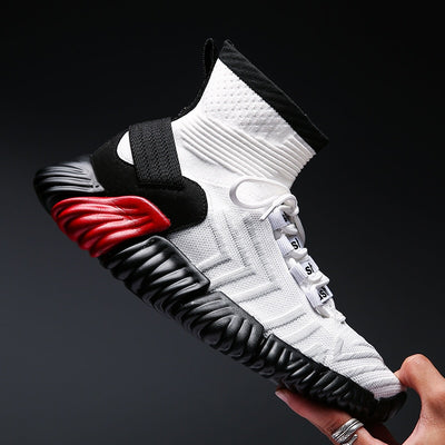 BomKinta White Colors Men Casual Sneakers Plus Size 46 Stretch Sock Shoes Men Fly Weave Sneakers Men Footwear