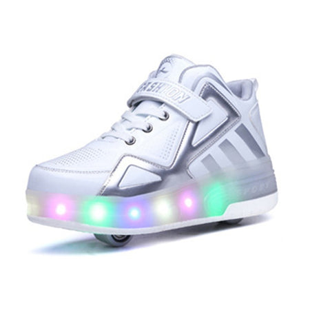 2020 Children Shoes Kids Glowing Sneakers with Two Wheels