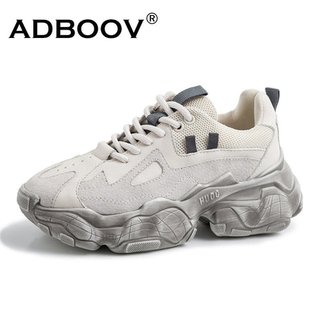 ADBOOV  Leather Chunky Sneakers