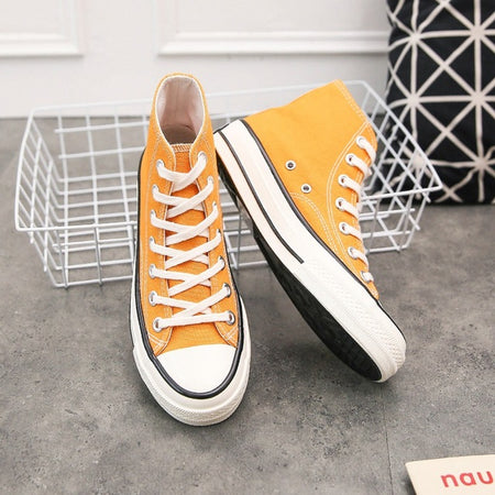 spring Solid Color purple Women's Casual Sneakers Vulcanized Sneakers women High Top Canvas Flats Sneakers Lace Up Footwear