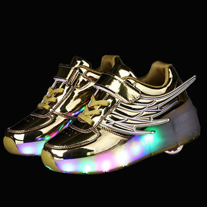 Glowing Light up Sneakers with Wheels Kids Roller Skates Shoes