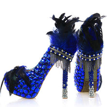 Wedding Crystal Bride Royal Blue Platform Luxury Women Pumps