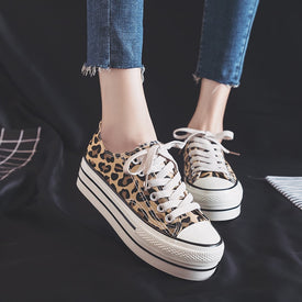 Women Leopard  Shoes Platform high heel Canvas vulcanized sneakers