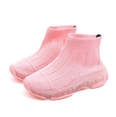 Kids Sneakers 2019 Spring Fashion Mesh Sock Casual Shoe Children Sneaker Boy Girl Toddler Breathable Sport Shoe Black Red Pink