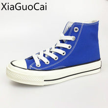 Blue High Quality Lace Up Women Canvas Sneakers Rubber Spring and Autumn Unisex Casual Sneakers Flat Platform Shoes