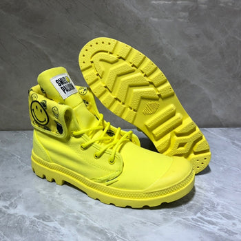 PALLADIUM Pampa Classic yellow Smiling face High Top Men Sneakers Slip On Casual Shoes Male Canvas Shoes