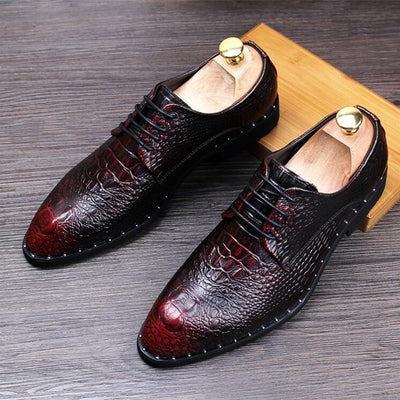 Men's Crocodile Dress Leather Shoes Lace-Up Wedding Party Shoes